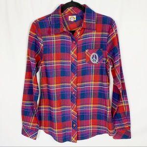 Love Rocks Plaid Long Sleeve Peace Button Shirt M